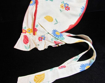 Vintage girl's sunbonnet, 1930's farm girl's cotton sunbonnet