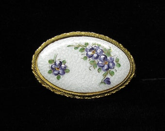 Vintage Schildkraut lipstick and mirror combination with guilloche enamel plaque, hand painted purple flowers