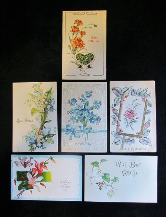 Antique postcards, lot of 6 postcards, Best Wishes postcards, Greetings postcards, floral and embossed postcards