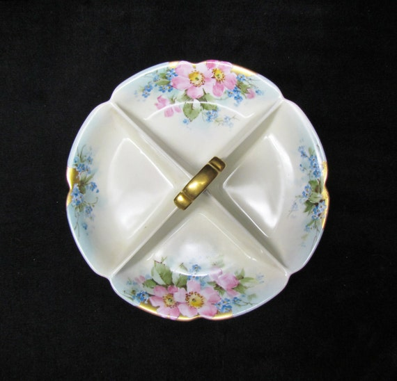 Vintage porcelain serving dish - hand-painted, floral decoration, 4-section