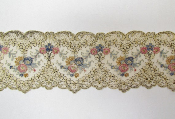 Vintage metallic gold net lace, 1920's, hearts and flowers embroidered with multi colored thread, superior quality