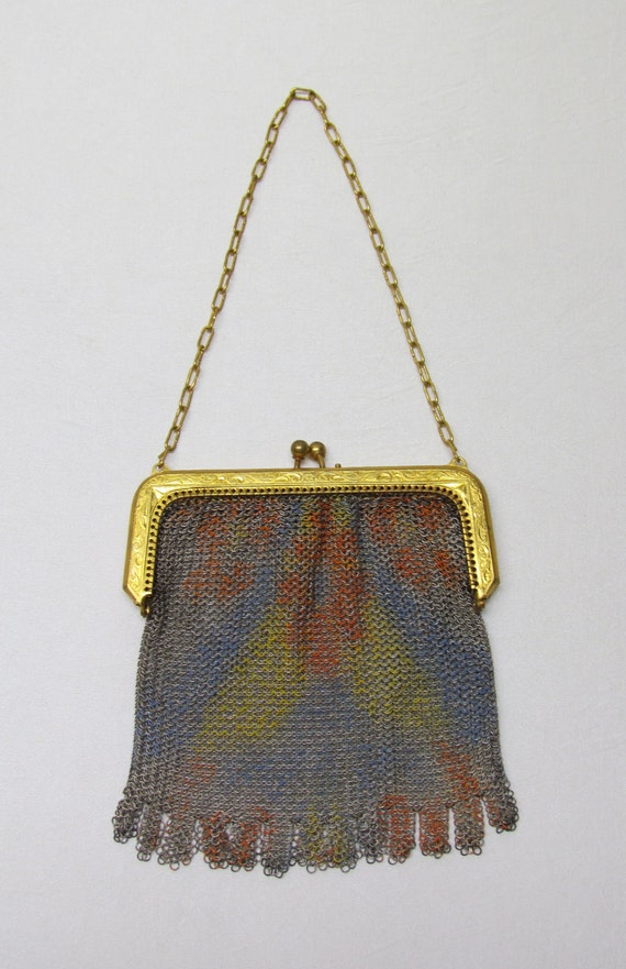 Vintage mesh purse, 1920's Whiting and Davis, painted mesh, gold-tone frame