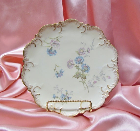 Vintage Limoges plate - pink and blue flowers, early 1900's