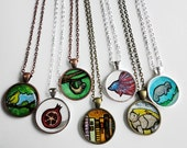Design your own art necklace - Custom hand painted watercolor pendant :)