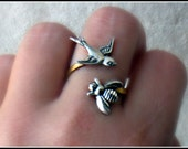 silver birds and the bees ring, bird ring, bee ring, bird accessory, bee jewelry, bee accessories, spring fashion, vintage style
