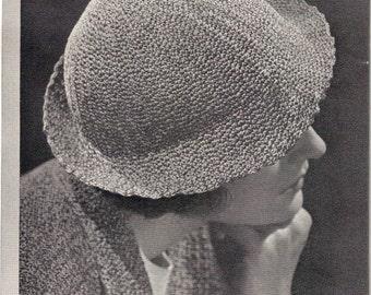 1930s Swagger Cloche Brimmed Hat - Crochet pattern PDF 2835