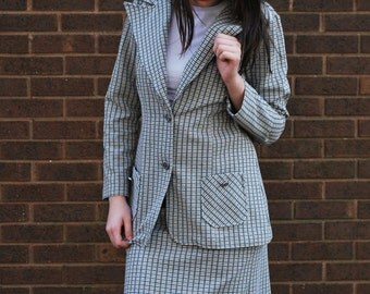 1970s 3 Piece Polyester Suit Set with Belt // Grey and Caramel // Petite M L