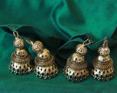 Cotton Silk Scarf  with Metal Beads - Bottle Green and Antique Gold Jhumka Earrings