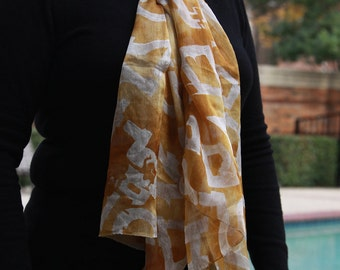 Shades of Gold Geometric Shapes - Upcycled Silk Scarf with gorgeous self print design