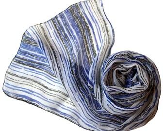 Crinkle Sari Scarf - Sheer Georgette Tri-colored - Fashion accessory