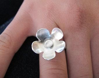 Silver Flower Ring/ Handmade Sterling Silver ring