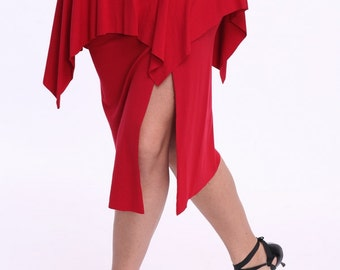 Red slit skirt for tango