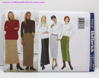 Uncut Sewing Pattern Ladies Skirt - Butterick 5668 - Fast & Easy - Three Lengths - Sizes 8, 10, 12