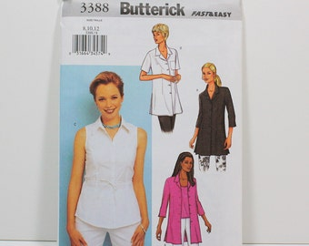 Uncut Sewing Pattern Ladies Shirt and Tank Top - Butterick 3388 - Fast & Easy - Sizes 8, 10, 12