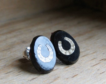 lucky HORSE SHOE vintage pressed glass sterling post earrings