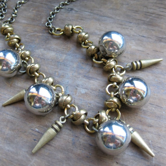 BRASS SPIKE and BUTTON bold vintage chain bib necklace