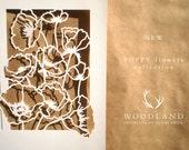 SALE Poppy Flowers papercut Quaker certificate
