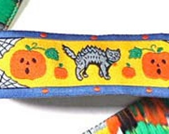 "Halloween Cat, Pumpkin and Spider Web  - 1"" x 3 yds Woven Jacquard Ribbon"