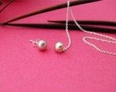 Stitch Earrings - pink - Sterling silver asymmetrical earrings with pearls