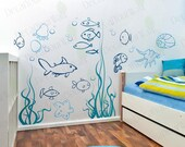 Under the sea Wall Decals Underwater Ocean Fish Decal Nursery Baby Boys Girls Kids Room Decor Wall Art Large Stickers Murals Removable Vinyl