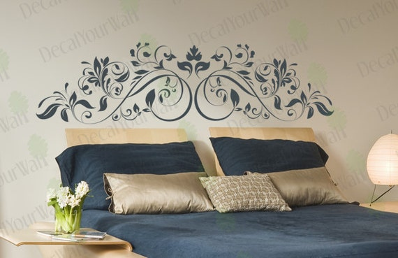 Headboard Wall Decal King Queen Full Bedroom Living Room Flower Swirl Stickers Floral Sticker Home Decor Wall Art Removable Vinyl Sticker