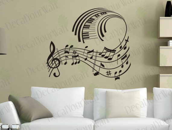 music wall art music note decals musical wall decal stickers removable vinyl sticker wall art home - Music Wall Decor