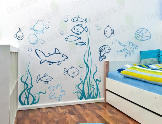 Under the sea wall decals underwater ocean fish decal nursery for Bathroom fish decor