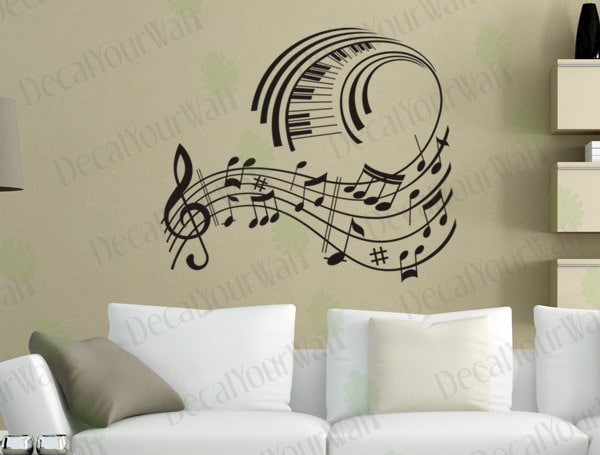music wall art music note decals musical wall decal stickers. Black Bedroom Furniture Sets. Home Design Ideas