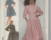 ON SALE -1980s Simplicity Sewing Pattern No 8488 for Womens Dress in two lengths Size 12 to 16  Bust 34 to 38 inches, Uncut, Factory Folded