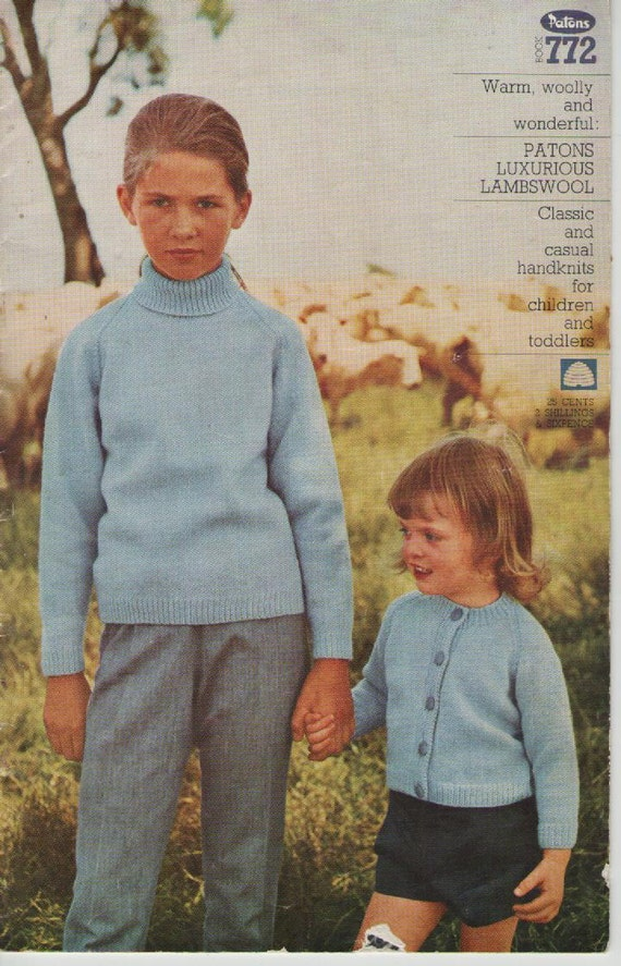 Patons Knitting Pattern No 772 in Lambswool Classic Handknits for Children and Toddlers Vintage 1970's
