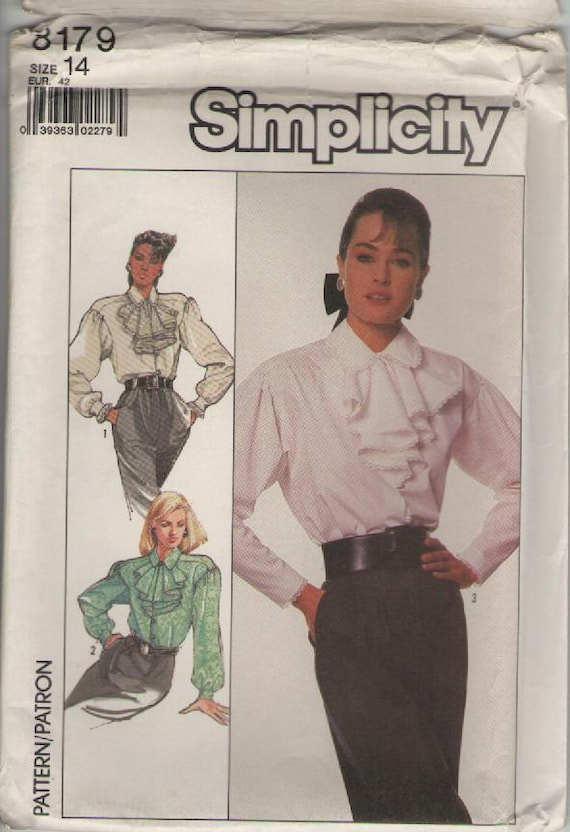 ON SALE - 1980s Simplicity Pattern No 8179 for Misses Blouse Size 14  Bust 36 inches, Uncut, Factory Folded