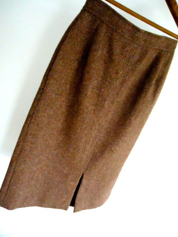 Vintage Skirt Women Wool Tweed Pencil Skirt in Brown high- waisted skirt with pockets Autumn Fall Size 3 small office secretary work
