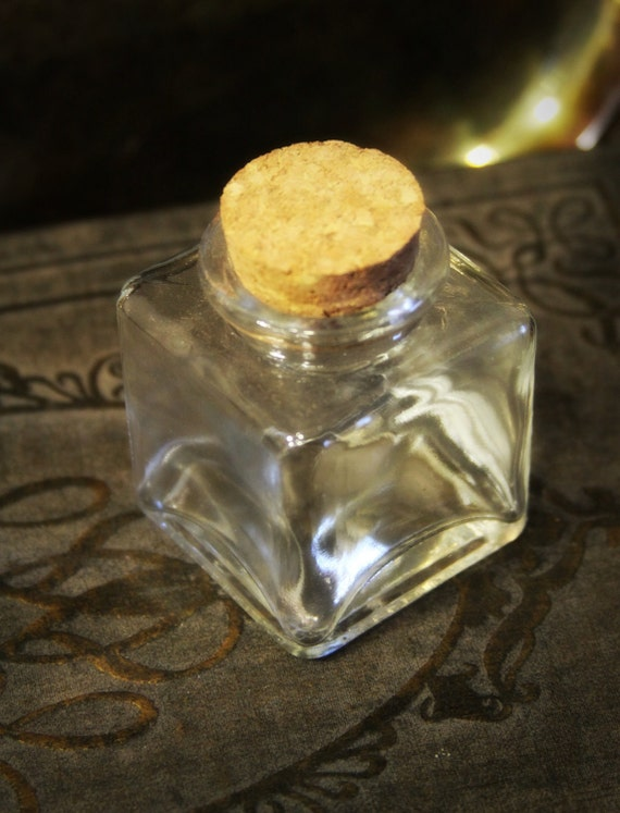 Handmade glass jar w cork --  clear glass apothecray jar - apothecary jar