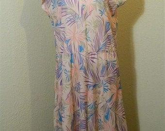 Plus Size Vintage Dress / 1960s Pink Vintage Dress / Palm Print Dress