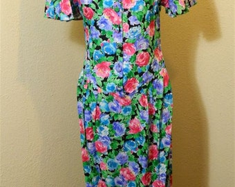 Floral Dress / 1980s Regina Kravitz Vintage Floral Dress - Sz 10