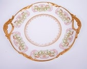 Antique Limoges Platter Double Handled J Pouyat 1908 France Heavy Gold Pink Green Cake Plate