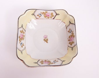 Vintage Yellow Floral Square Bowl Footed Floral Bowl Pink Roses Made in Japan Green Crown Back Stamp