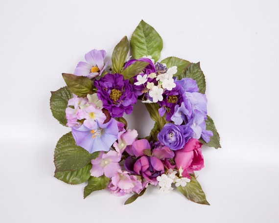 Vintage Silk Candle Ring Centerpiece Purples and Pinks Silk Arrangement