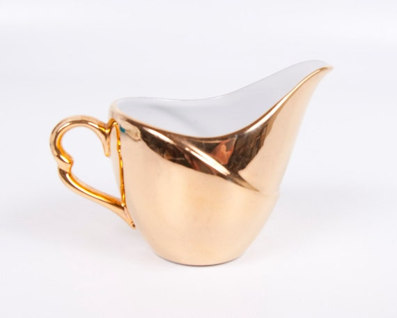 Vintage Gold Creamer Porcelain Cream Pitcher Elegant Serving Raised Porcelain Shiny Glaze