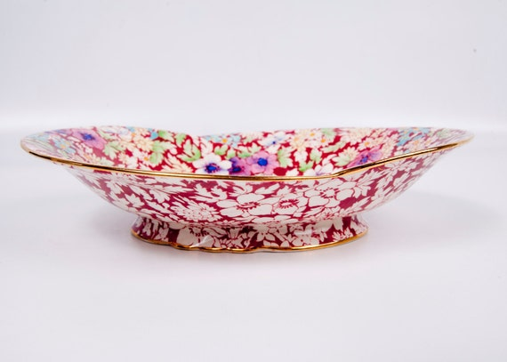 RESERVED for ANGELA HENTY Vintage Royal Winton Grimwades Chintz Bowl Made in England Gold Trim 1928 to 1951