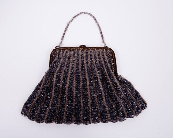 RESERVED for Ane Do Not Purchase 1920s Black Glass Bead Purse Elegant Evening Bag Bridal Hand Bag...Le Vintage Galleria