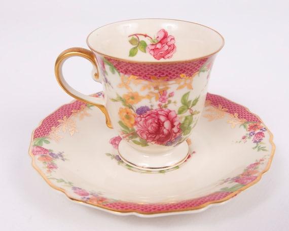 RESERVED For Kathryn Bavaria Continental Ivory Cabbage Rose Demitasse Teacup and Saucer Pink Rose Design Footed