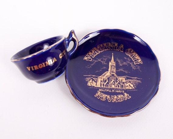 Vintage Nevada Teacup Saucer Virginia City NV Teacup Cobalt Blue St Marys Church Miniature Made in Japan