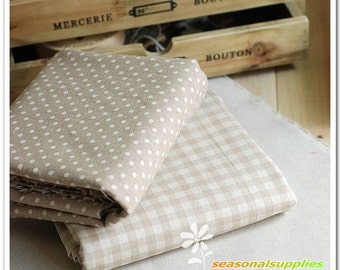 Half Yard Linen fabric, polka dots or khaki and white gingham for choice,diy,colorful fabric,garment accessory C10