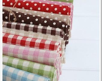 "Fat Quater Bundle / Polka dotted / Gingham Bundle Fabric / Fabric Bundle/  - Cotton Linen Fabric 6 Bundle each 20""X28"" (C157-M)"
