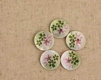 Shell Bottons Set,Natural Texture,Green and Pink,Flower Print,15mm Diameter,Round shape-(4 in a set)(GN35)
