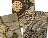 INSTANT DOWNLOAD Ancient Maps Digital Collage Sheet ACEO Gift Tags Old Maps Ireland Scotland no. 99