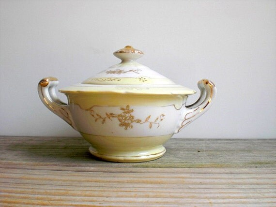 Cottage chic vintage bowl with lid / candy dish / country cottage home decor / pale lemon yellow / white / gold details / country cabin home