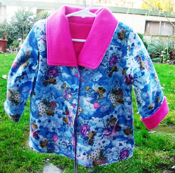 CLOSEOUT SALE, Toddler Fleece Jacket, Toddler Girl Jacket, Toddler Girl size 2T Reversible Angel Bear Jacket