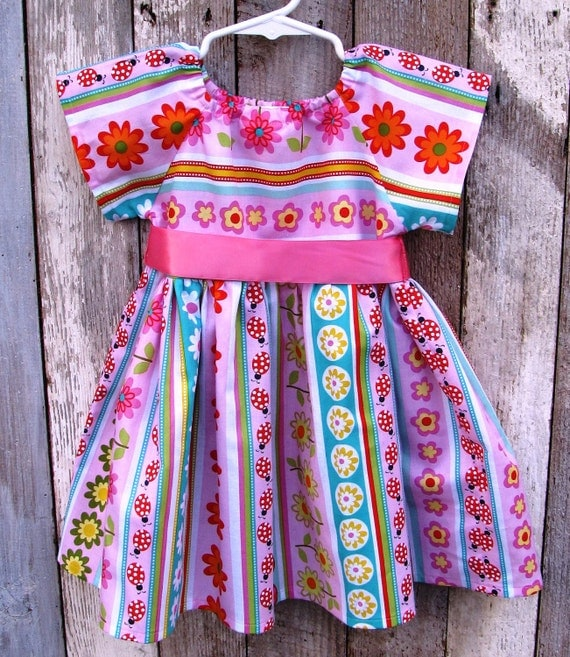 SALE! Baby Girl Size 12 Month Peasant Dress, Flower Print Infant Dress Size 12 Months